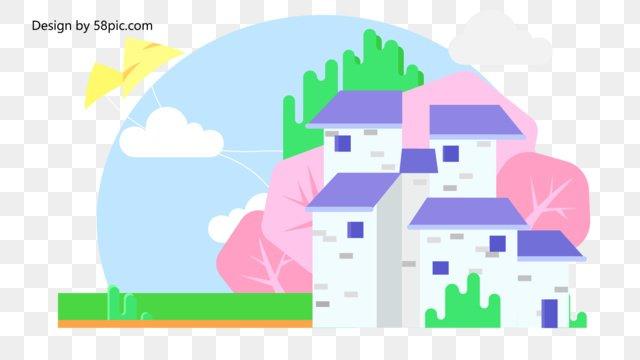 spring flower open kite small fresh building landscape illustration llustration image illustration image
