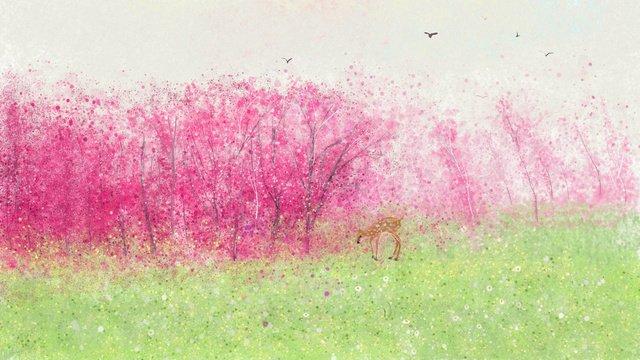 lin shenjian deer   spring original illustration Material de ilustração Imagens de ilustração