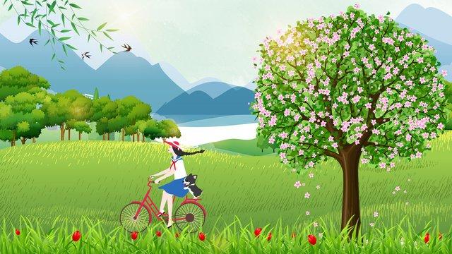 春の青春乗馬自転車オリジナルイラスト イラストレーション画像