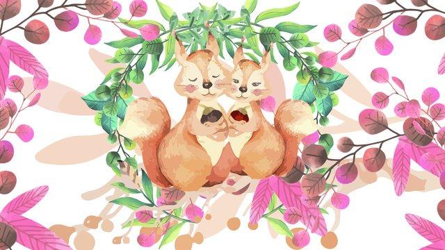 những bức tranh màu nước của động vật nhỏ đáng yêu truyện cho người lớn trẻ con sóc Hình minh họa