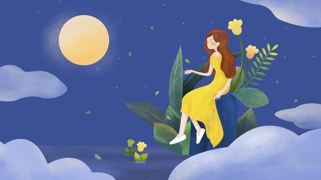 こんにちは、おやすみ、8月、美しい夜空、小さな新鮮な治療法、ポスターイラスト星空  美しい夜  こんにちは。 PNGおよびPSD illustration image