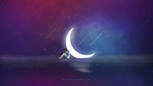 Romantic purple gradient galaxy starry beautiful healing sky scene illustration, Starry Sky, Cure, Girl illustration image
