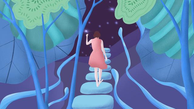 nhìn lại cô gái trong biển sao rộng lớn vào ban đêm đi bộ một mình trên đường Hình minh họa