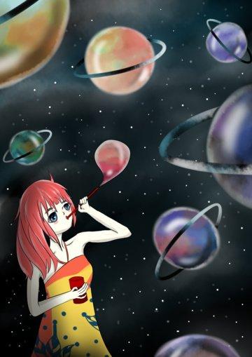 Expensive starry bubble planet illustration illustration image