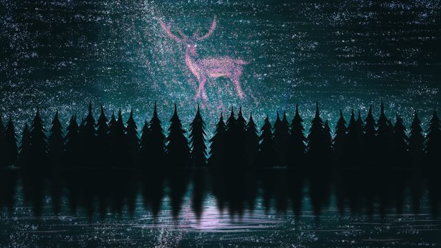 Healing summer starry sky good night hello august forest and deer, Starry Sky, Good Night, August illustration image