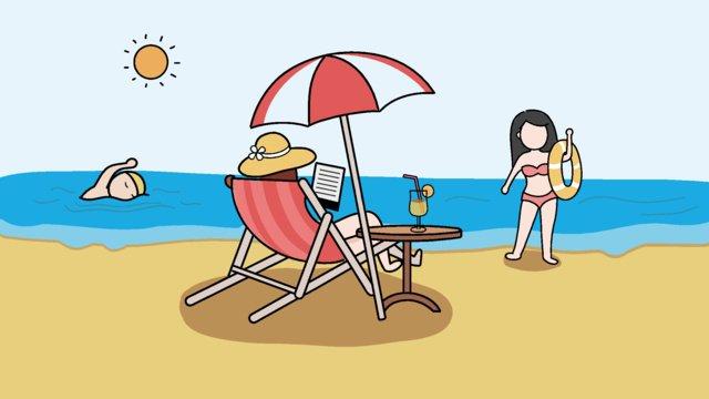 原創插畫 夏天游泳度假的人們夏天  沙灘  游泳PNG圖片素材和向量圖 illustration image
