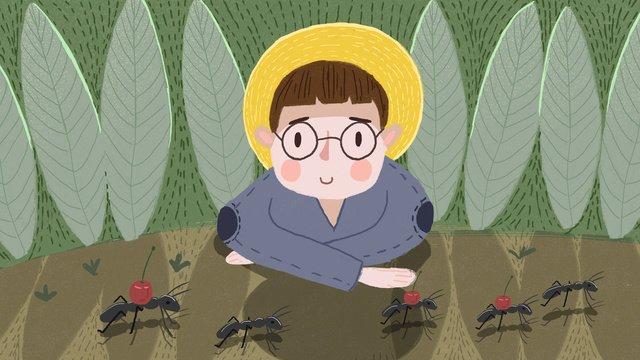アリを観察するサマーキャンプの少年 イラスト素材 イラスト画像