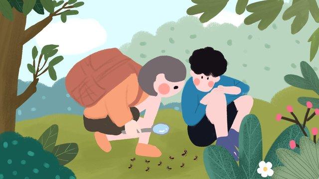サマーキャンプ夏の休日シーズン夏の屋外探索少年少女手描き イラスト素材 イラスト画像