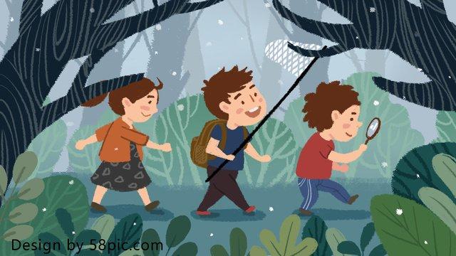 サマーキャンプ夏休みカーニバルシーズン森探検オリジナル手描きイラスト イラスト素材