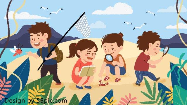 夏夏キャンプ島探検オリジナル手描きイラスト イラスト素材