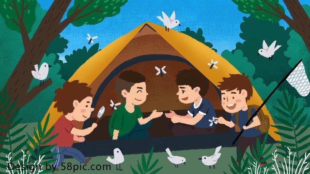 夏休みカーニバルサマーキャンプ野外冒険オリジナル手描きイラスト イラスト素材