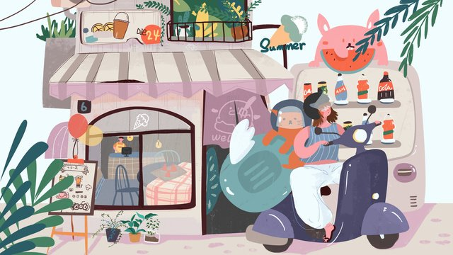 Summer street tricycle girl small fresh illustration, Summer, Cold Drink Shop, Vending Machine illustration image