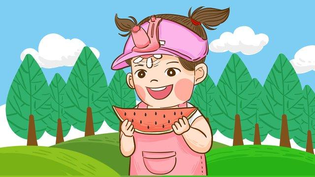 ग्रीष्मकालीन खाने वाले तरबूज टोपी पहने प्रशंसक मूल चित्रण करते हैं चित्रण छवि चित्रण छवि