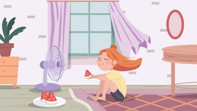 スイカを吹いて夏イラスト・ファン イラストレーション画像