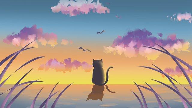 여름 저녁 일몰 삽화 소재 삽화 이미지