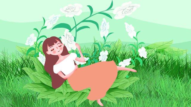 Summer Flower Teenage girl Beautiful, Lovely, Cartoon, White Rose illustration image
