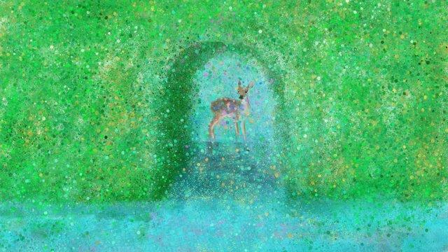 lin shenjian deer   summer original illustration Material de ilustração