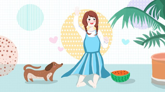 Summer little fresh girls and puppies llustration image illustration image