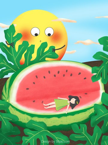 Summer fresh little girl sweet sleeping watermelon illustration llustration image