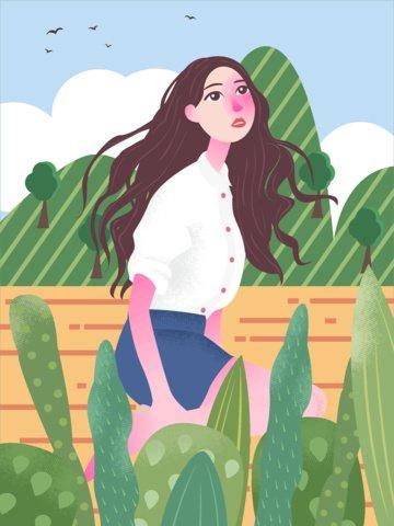 夏天坐在地上看風景的女孩原創卡通插畫 插畫素材