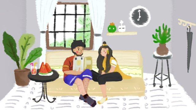 夏天情侶的早晨互動夏日你好 插畫素材