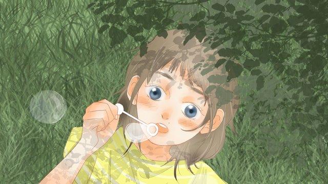 夏の少女、草の上に泡を吹いて、イラスト壁紙 イラストレーション画像 イラスト画像