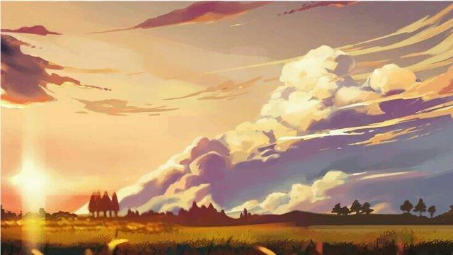 summer grassland pasture Sunset, Sunset Glow, Beautiful, Scenes illustration image
