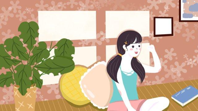 Summer life of a small fresh girl, Summer, Great Heat, Teenage Girl illustration image