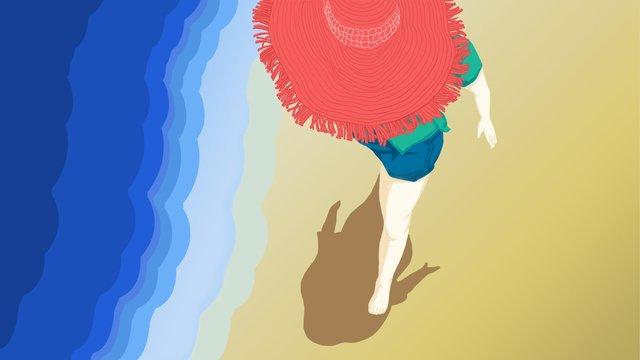 여름 휴가 큰 열 붉은 양산 모자 해변 소녀 걷기 삽화 소재 삽화 이미지