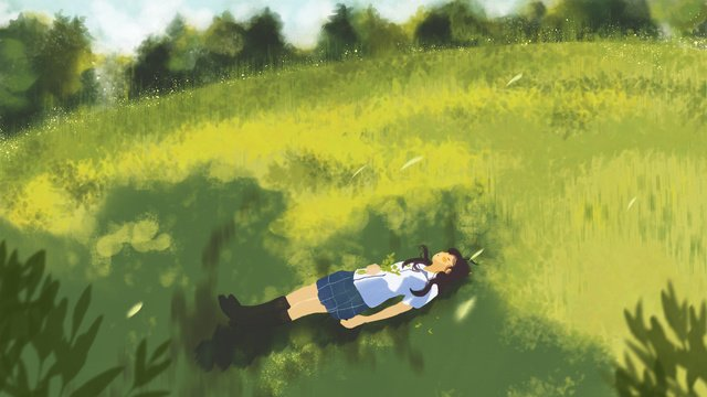 summer girl in the shade of green grass hand drawn illustration llustration image illustration image