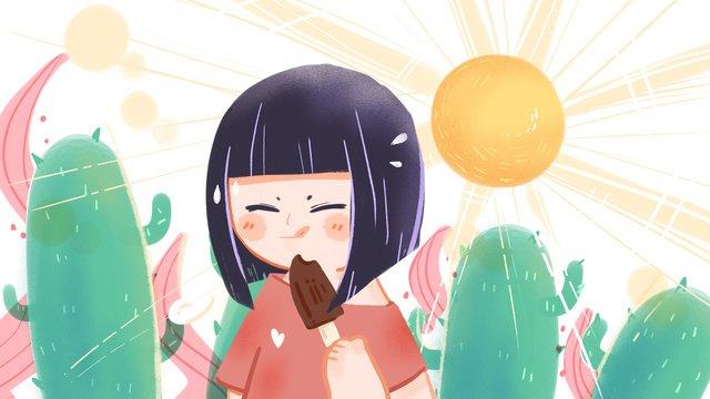 夏の暑いサボテン少女天気手描きイラスト イラスト素材
