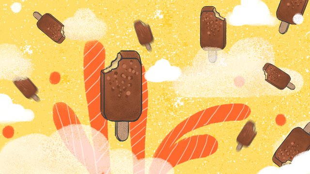 Fresh and crispy ice cream in the summer light, Summer, Ice Cream, Chocolate illustration image