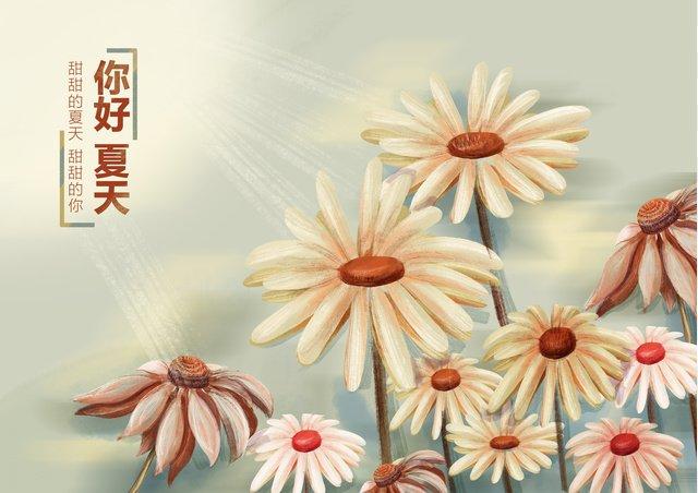 夏の花の下で手描きのオリジナルイラストポスター イラスト素材