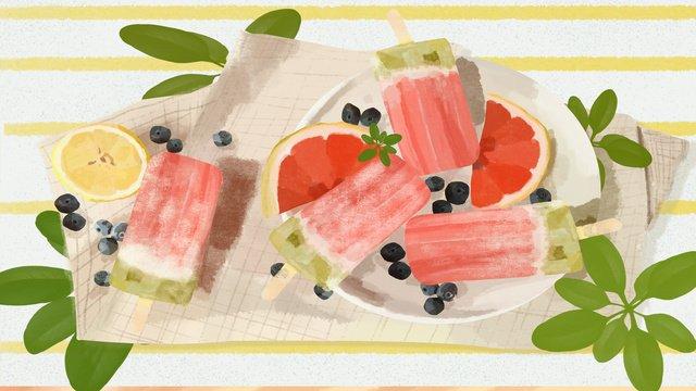 summer icy grapefruit popsicle illustration llustration image