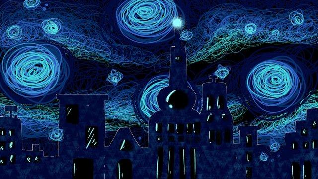 Hand drawn coil city starry illustration, Summer Night, Good Night, Silhouette illustration image