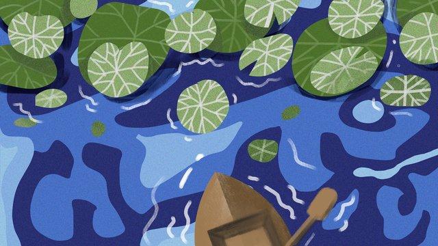 여름 밤 연꽃 잎 삽화 소재