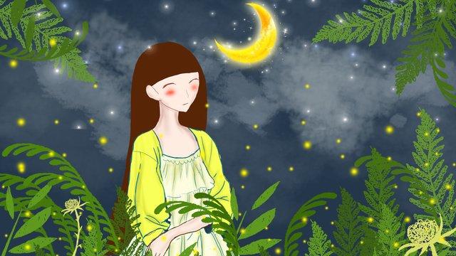 summer night starry sky with firefly cartoon girl original illustration llustration image illustration image