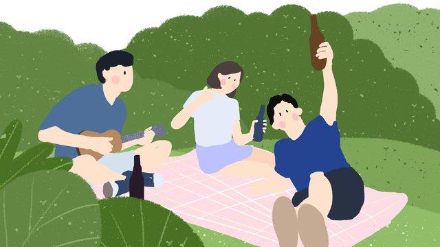 여름 장면 야외 파티 기타 손으로 그려진 그림을 그린 소년 삽화 소재 삽화 이미지