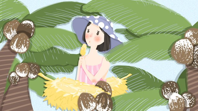 Summer scene little girl hand drawn illustration llustration image
