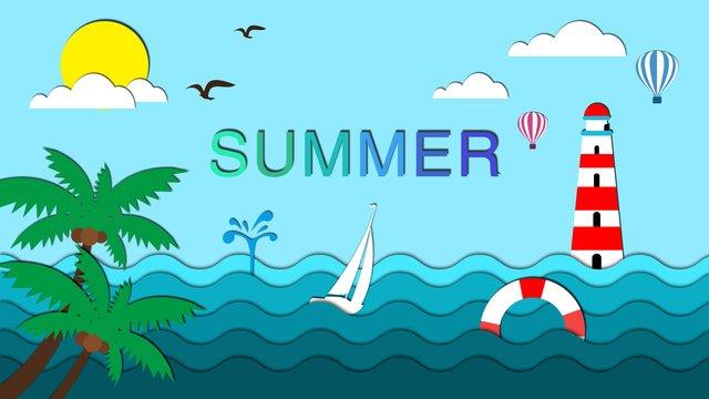 ilustração de verão estilo papel microscópico Material de ilustração Imagens de ilustração