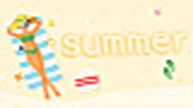 夏天海邊沙灘泳裝女孩度假原創插畫 插畫素材