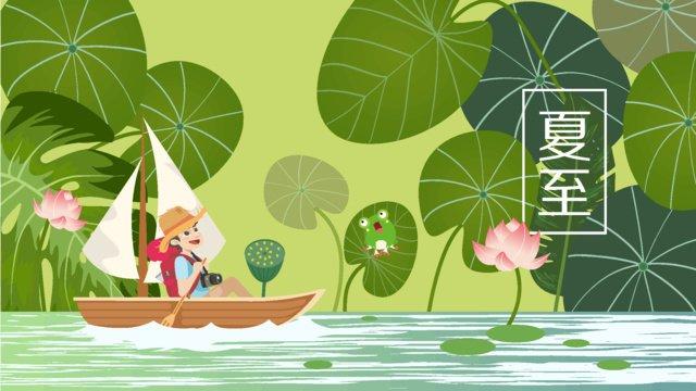 여름 지점 소년 여행 원래 손으로 그린 벡터 일러스트 포스터 삽화 소재