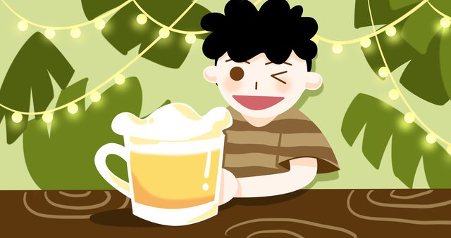 清涼夏天喝啤酒原創插畫 插畫素材
