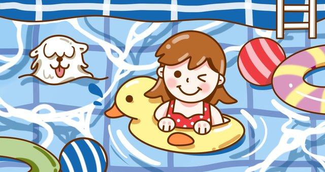 夏天可愛小女孩游泳原創插畫 插畫素材