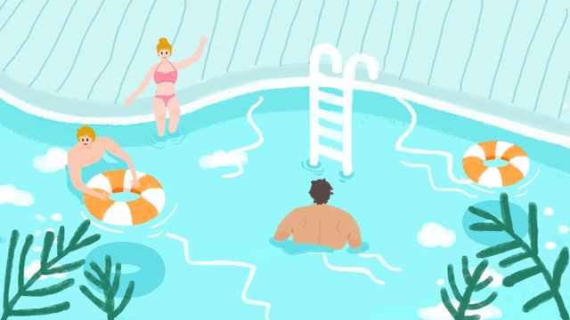 original illustration   hello summer pool play llustration image