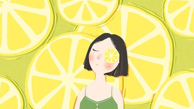 夏季夏天檸檬女孩插畫 插畫素材
