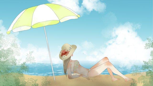 夏のビーチでひなたぼっこをする女の子のイラストの壁紙 イラストレーション画像
