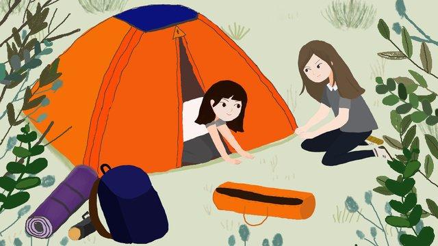 サマーサマーパークサマーキャンプ イラスト素材 イラスト画像