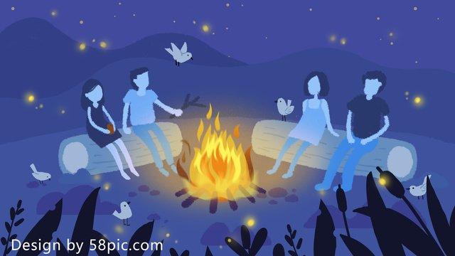 夏のカーニバルたき火パーティーオリジナルの小さな新鮮な手描きのイラスト イラスト素材 イラスト画像