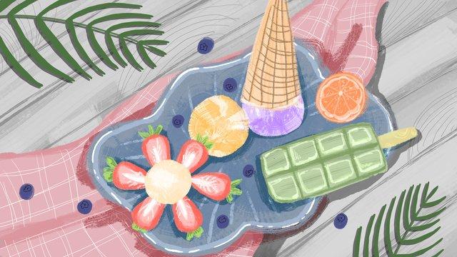 夏日冷飲冰淇淋插畫 插畫素材 插畫圖片